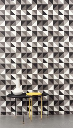 Remix Grey Wallpaper from ferm LIVING. #wallpaper #design #pattern