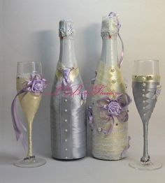 Cute DIY Wedding Toasting/Gift Glasses and Bottles.