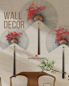 Rustic Wall Art, Modern Wall Decor, Metal Wall Decor, Japanese Wall, Japanese Modern, Cherry Blossom Bedroom, Accent Wall Decor, Wedding Wall Decorations, Metal Fan