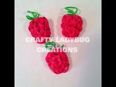 STRAWBERRY Charm. Designed and loomed by Crafty Ladybug on the Rainbow Loom. Click photo for YouTube tutorial.