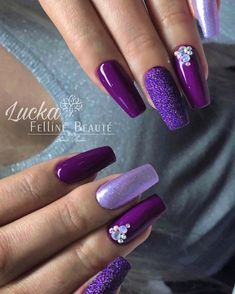 Purple Acrylic Nails, Purple Nail Art, Purple Nail Designs, Acrylic Nail Designs, Plum Nails, Violet Nails, Acrylic Gel, Beautiful Nail Designs, Cute Nail Designs