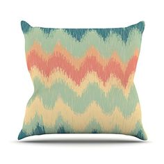 KESS InHouse MM1038BOP03 18 x 18-Inch 'Nika Martinez Ikat Chevron II Teal' Outdoor Throw Cushion - Multi-Colour >>> Click on the image for additional details. #GardenFurnitureandAccessories