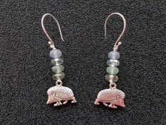 OOAK Earrings Sterling Silver Hedgehog by nightsparklies on Etsy, $17.00