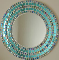 Large round mirror mosaic mirror hand made tiles wedding Mirror Mosaic, Glass Mosaic Tiles, Mosaic Art, Mosaics, Large Round Mirror, Round Mirrors, Mosaic Crafts, Mosaic Projects, Handmade Mirrors