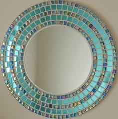 Large round mirror mosaic mirror hand made tiles wedding Blue Mosaic, Mosaic Diy, Mosaic Crafts, Mosaic Projects, Mosaic Tiles, Mosaic Wall, Mosaics, Large Round Mirror, Round Mirrors