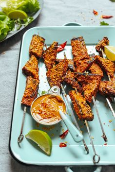 DELICIOUS Lemongrass Tempeh Satay! BIG flavor, simple ingredients, PERFECT for grilling or roasting! #satay #tempeh #vegan #glutenfree #plantbased #minimalistbaker