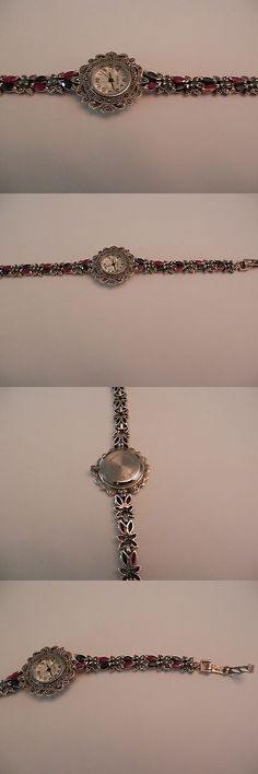 Wristbands 112603: Sapphire Ruby Emerald Marcasite Ladies Wristwatch Sterling Silver Pearl Face -> BUY IT NOW ONLY: $49.99 on eBay!