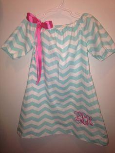 Light Teal 3/4 sleeve dress with monogrammed initials Newborn to size 12 by bows2toesmunchkinclo on Etsy