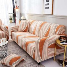 Transform The Look of your Living Room with these All-Season Sofa Slipcovers! Get afresh new look for your sofas, love seats and couches in a few easy steps!Made of Nylon and spandex, thesesoft, protective sofa slipcovers are moisture and stain-resistant toprotectfrom accidental food and drink spills. Choose from Orange Sofa, L Shaped Sofa, Three Seater Sofa, Furniture Styles, Corner Sofa, Sofa Covers, Aliexpress, Accent Decor, Home Accessories