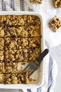Whole Wheat Oatmeal Chocolate Chip Cookie Bars