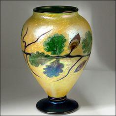 Orient & Flume American Studio Art Glass Oak & Acorn Ltd Ed Nouveau Vase