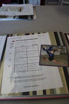 I did these pages of her mock meet.  Pictures were of us getting ready at home and then her comments from the judges.