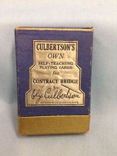 Culbertson's Self Teaching Contract Bridge Cards Bridge Game, Ely, Photo S, Playing Cards, Challenges, Teaching, Beautiful, Playing Card Games, Education