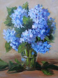 Hydrangea Light, 9 x 12 Oil Painting by Pat Fiorello, $400,  www.patfiorello.com