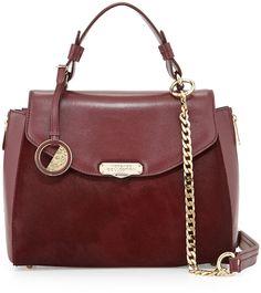 Versace Top Handle Leather Satchel Bag, Bordeaux