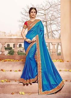 Silk Blue Colored Decent Party Wear Saree