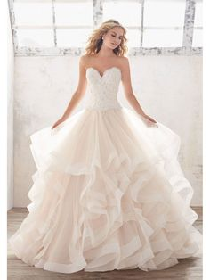 Fabulous Lace and Tulle Sweetheart Neckline Ball Gown Wedding Dresses With  Lace Appliques 5601004 Ruffled Wedding 479168e9c2ca
