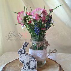 Easter christening / baby shower centrepiece.  Rabbit, mason jar, wild flowers, affinity event decorators Swansea