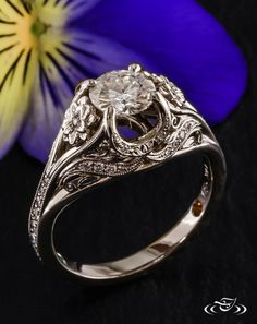 •Lotus Dome  Engagement Ring•  such a beautiful antique style engagement ring