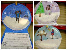 snow globe bulletin board ideas | Snow Globe, great Christmas Party Craft.