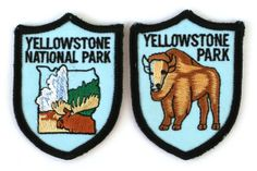 Vintage Yellowstone National Park Wyoming Badge Iron-On Patch Souvenirs
