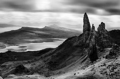 Old Man of Storr by Dave Bowman Cool Landscapes, Beautiful Landscapes, White Photography, Nature Photography, Best Landscape Photographers, Places In Scotland, Outer Hebrides, Skye Scotland, Landscape Photos