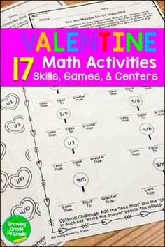 Invigorate your 4th and 5th grade math lesson plans with these no-prep or low-prep Valentine-themed worksheets, games, and centers! You get twelve practice sheets, one task card set, and four games. Use them for center rotations, homework, morning work, or early finishers. Kids get lots of fun practice with fractions, decimals, multiplication, and even research! All activities address fourth and fifth grade Common Core standards.