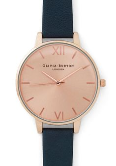 Undisputed Class Watch in Rose Gold/Navy - Grande by Olivia Burton - Luxe, Gold, Leather, Blue, Minimal, Variation