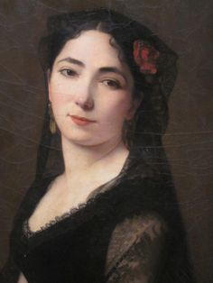 Large painting representing the #portrait of a young woman. Signed Antonio #GISBERT (1835-1900) and dated #1868. #Oil on #canvas. #Spanish School, 19th century. For sale on Proantic by Antiquités Wunschel Hervé.