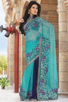 Amazing blue & navy blue georgette saree