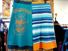 Recycled T Shirt Skirt Hampden Baltimore Rat on Toilet Upside Down Living Size Small Upcycled Repurposed, Gift for Her