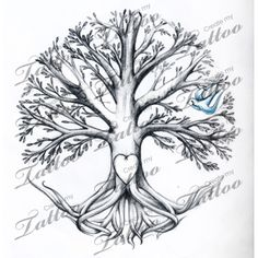Marketplace Tattoo Tree with Bird with Names in Branches #6122 | CreateMyTattoo.com