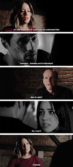 "Daisy: That's why he thought he could make me understand him. Coulson: Was he right? Daisy: Probably. #Marvel Agents of S.H.I.E.L.D. #AoS #AgentsofSHIELD 1x20 ""Nothing Personal"" / 3x09 ""Closure"""