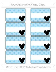 Free Baby Blue Polka Dot  Mickey Mouse Name Tags