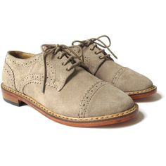 HANDSOM Suede Oxford Brogue In Sand (1,165 CNY) ❤ liked on Polyvore featuring shoes, oxfords, flats, zapatos, sand, brogue oxford, suede flats, suede brogue shoes, suede oxford shoes and brogue shoes