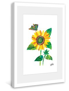 Butterfly and Sunflower Framed Art Print