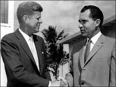 President-elect John F. Kennedy, left, shakes hands with Vice President Richard M. Nixon after a post-election conference in Miami, Nov. 14, 1960. Nixon lost to Kennedy in the election. http://www.rosettabooks.com/ebook/jfks-final-hours-in-texas/
