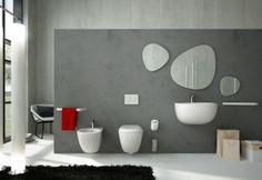 Serie File Artceram, design Meneghello Paolelli Associati. Sanitari sospesi (36×54 cm) e lavabo. Accessori serie Post it