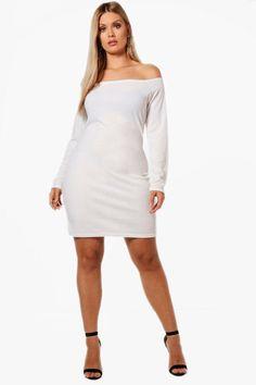 boohoo Plus Lianne Off The Shoulder Bodycon Dress