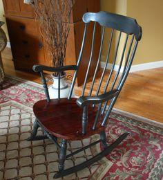 Antique Colonial Rocking Chair. Annie Sloan Chalk Paint Graphite. Hand waxed an buffed.