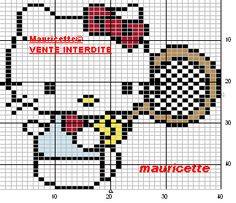 Hello Kitty tennis perler beads pattern by Mauricette