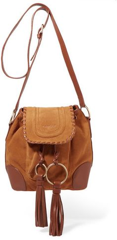 See by Chloé - Polly Taseled Leather-trimmed Suede Shoulder Bag - Tan
