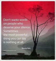 Don't waste words on people who deserve your silence Sometimes the most powerful thing you can say is nothing at all | Inspirational Quotes