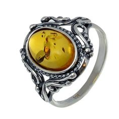 "Amber Ring ""Georgine"" By HolidayGiftShops - Sterling Silver and Baltic Honey Amber"