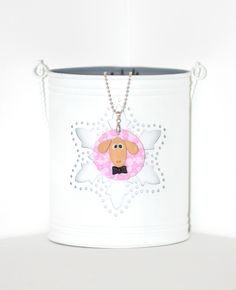 Papa Sheep - This cool sheep necklace is handcrafted out of polymer clay, using the applique technique. The base is a circle, in baby pink, and it's decorated with small dots in different shades of pink and a sandy pearled sheep head, with a black bow tie applied. It's made up with a silver metal ball chain. Animal friendly and fun! Click image to find more cool handmade jewelry by me! #handmade #necklace #polymer #clay #sheep