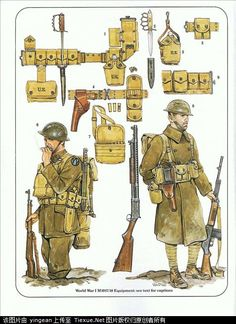 U.S. Army combat equipment the First World War M1917/18 loaded with