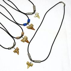 Wholesale 12 pc Lots Fossil Shark Tooth 20 inch Necklaces Sharks Teeth USA 7021 #GrassShackTrading #SharkTooth
