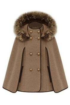Detachable Fur Hood Cape-style Shawl Coat http://www.romwomen.com/detachable-fur-hood-capestyle-shawl-coat-p-7496.html