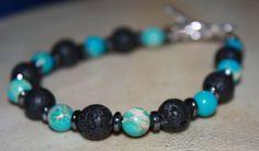 Imperial Jasper Howlite and Lava Stone Bracelet  by LetitBJewelry, $14.99
