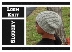 LOOM KNITTING Slouchy Cable Hat - Men or Women on Round Loom - EASY- Begining to End
